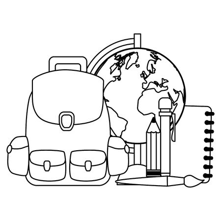Illustration for backpack world map book pencil brush back to school vector illustration - Royalty Free Image