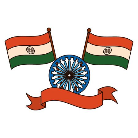 Illustration pour indian flags with  shoka chakra  illustration design - image libre de droit