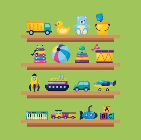 Ilustración de kids toys wooden shelf truck duck bear ball drum car plane train cubes  illustration - Imagen libre de derechos