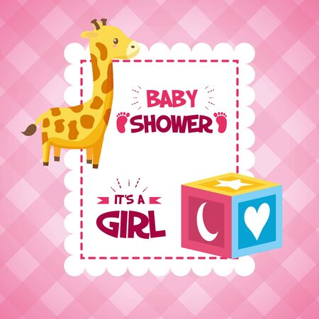 Illustration pour giraffe cube baby shower card, its a girl  illustration - image libre de droit