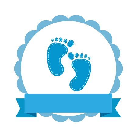 Ilustración de baby shower card with footprints vector illustration design - Imagen libre de derechos
