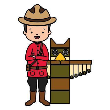 Ilustración de canadian mounted police totem happy canada day vector illustration - Imagen libre de derechos
