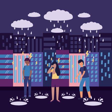 Illustration pour outdoor city guys depressed sadness vector illustration - image libre de droit