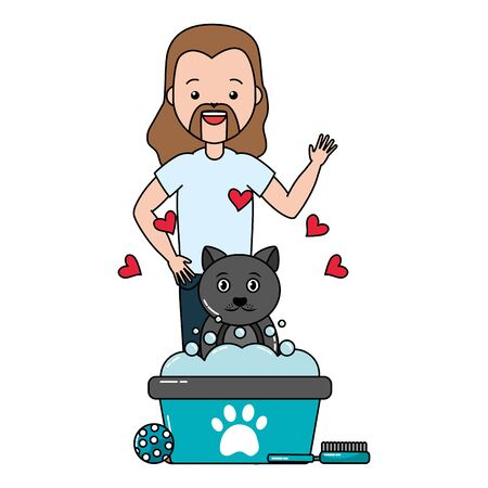 Illustrazione per man pet grooming hygiene care vector illustration - Immagini Royalty Free