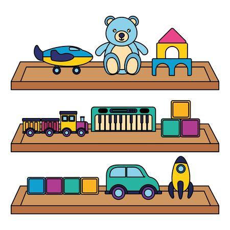 Ilustración de kids toys rocket bear car train cubes plane in shelf wooden vector illustration - Imagen libre de derechos
