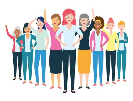 Ilustración de diversity women characters people group on white background vector illustration - Imagen libre de derechos