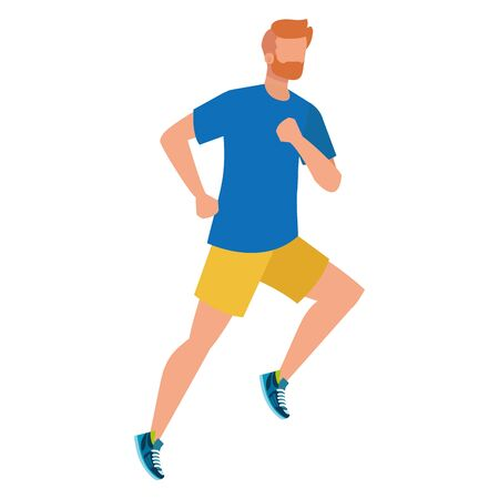 Ilustración de young athletic man running character vector illustration design - Imagen libre de derechos