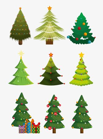 Illustration for bundle christmas trees with set icons vector illustration design - Royalty Free Image