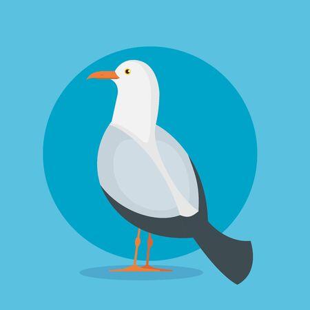 Ilustración de dove bird animal with wings and feathers over blue background vector illustration - Imagen libre de derechos