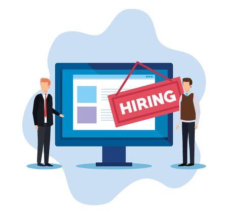 Illustration pour businessmen with computer documents and hiring emblem vector illustration - image libre de droit