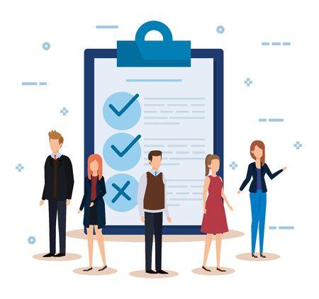 Illustration pour businesswomen and businessmen with documents check list vector illustration - image libre de droit