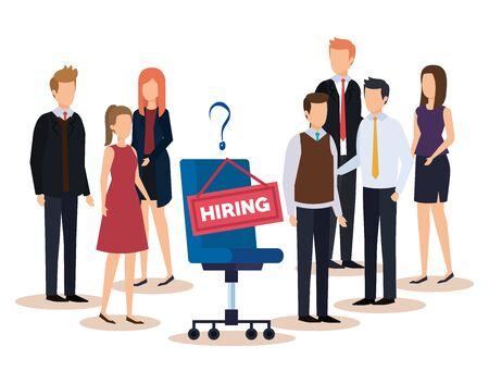 Illustration pour professional businesswomen and businessmen with hiring job vector illustration - image libre de droit