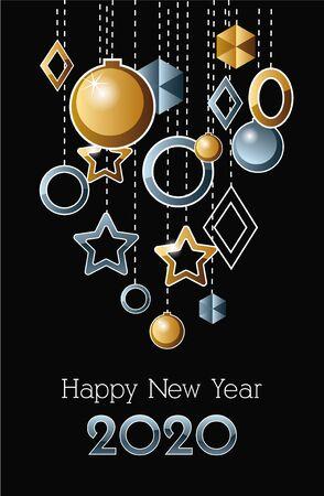 Ilustración de happy new year 2020 celebration label with balls hanging vector illustration design - Imagen libre de derechos