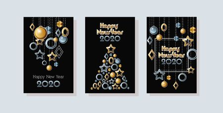 Illustration for happy new year 2020 celebration set cards vector illustration design - Royalty Free Image