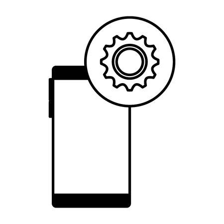 Illustration pour smartphone device with gear settings vector illustration design - image libre de droit
