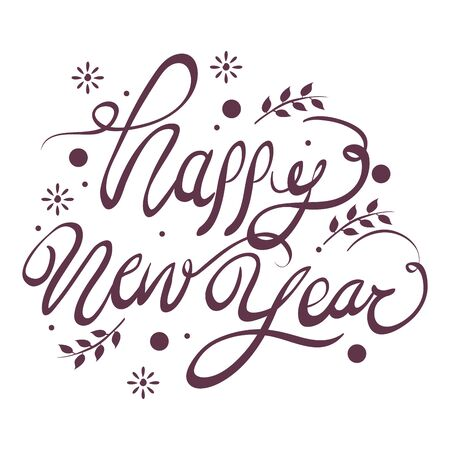 Illustration for happy new year lettering icon vector illustration design - Royalty Free Image