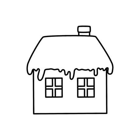Illustration for house with snow line style icon vector illustration design - Royalty Free Image