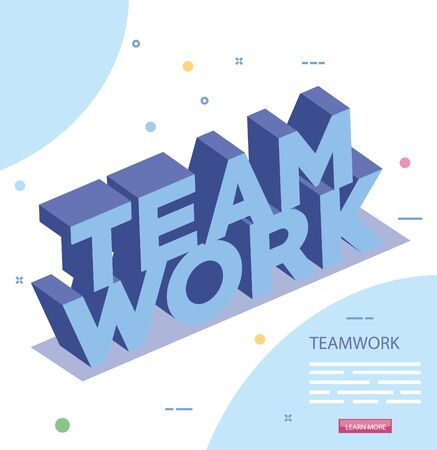 Illustration for lettering of teamwork isolated icon vector illustration design - Royalty Free Image
