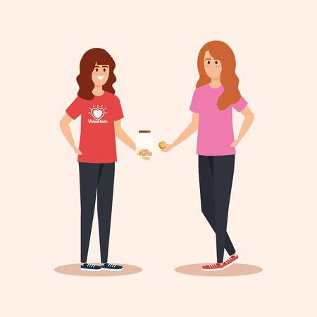 Ilustración de girls with moneybox and coins donation to help vector illustration - Imagen libre de derechos