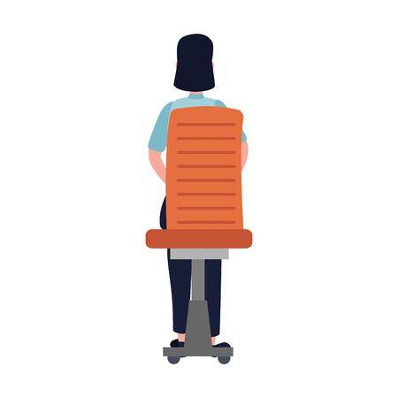 Ilustración de elegant businesswoman worker seated in office chair vector illustration design - Imagen libre de derechos