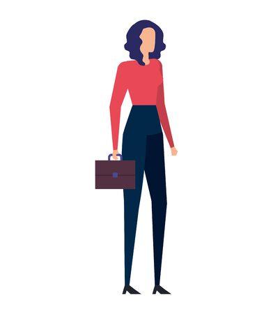 Ilustración de elegant young businesswoman with portfolio vector illustration design - Imagen libre de derechos