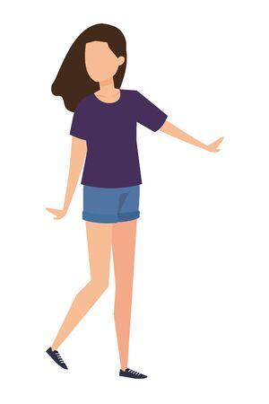 Ilustración de cute young woman avatar character vector illustration design - Imagen libre de derechos