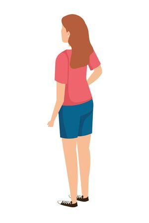 Ilustración de cute young woman back character vector illustration design - Imagen libre de derechos