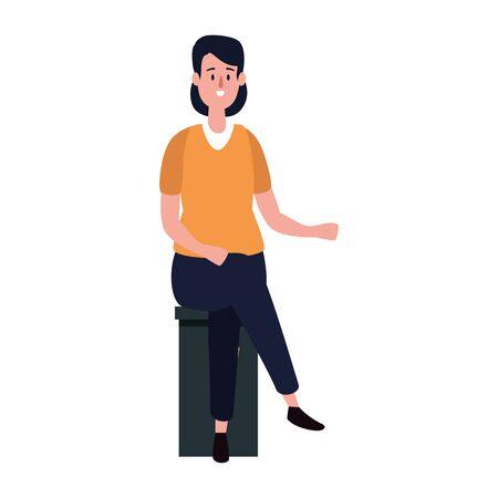 Ilustración de elegant businesswoman seated in bench vector illustration design - Imagen libre de derechos
