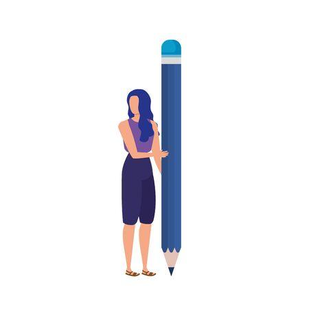 Ilustración de young woman with pencil character vector illustration design - Imagen libre de derechos