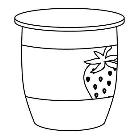 Ilustración de strawberry fruit yogurt fresh icon vector illustration design - Imagen libre de derechos