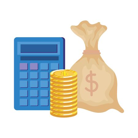 Illustration for money bag with coins and calculator vector illustration design - Royalty Free Image