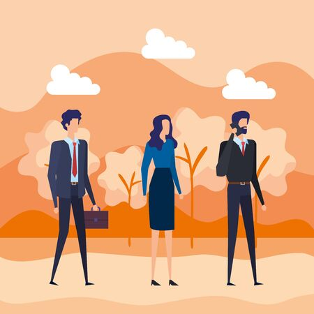 Illustrazione per businessmen and businesswoman with elegant clothes and smartphone to office success, vector illustration - Immagini Royalty Free