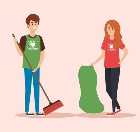 Ilustración de boy and girl volunteers with broom and bag vector illustration - Imagen libre de derechos