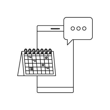Illustration pour smartphone device with calendar reminder vector illustration design - image libre de droit