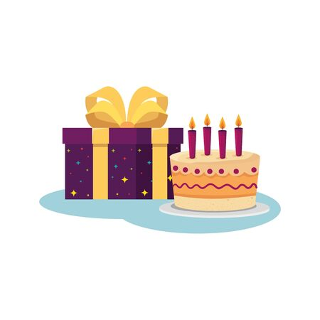Ilustración de Cake and gift design, happy birthday celebration decoration party festive and surprise theme Vector illustration - Imagen libre de derechos