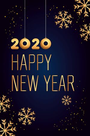 Illustration for poster of happy new year 2020 with snowflakes vector illustration design - Royalty Free Image