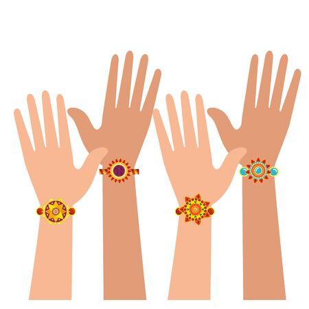 Illustration for hands with bohemian style bracelets vector illustration design - Royalty Free Image