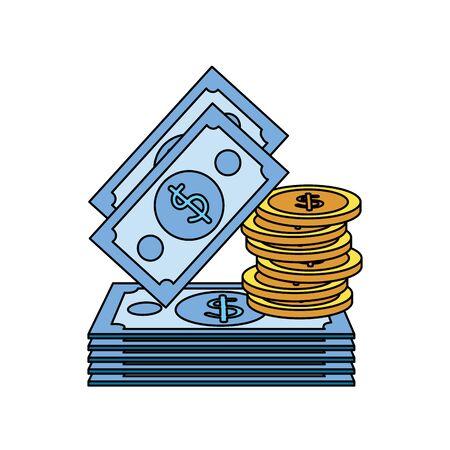 Ilustración de coins and bills money dollars icons vector illustration design - Imagen libre de derechos