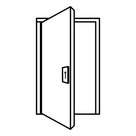 Illustration for house door wooden isolated icon vector illustration design - Royalty Free Image