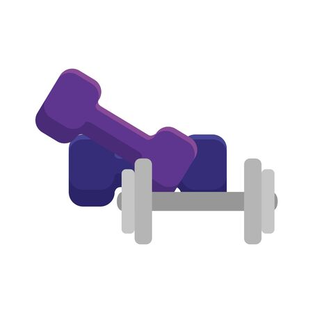 Illustration pour set of dumbbell equipment gym isolated icon vector illustration design - image libre de droit