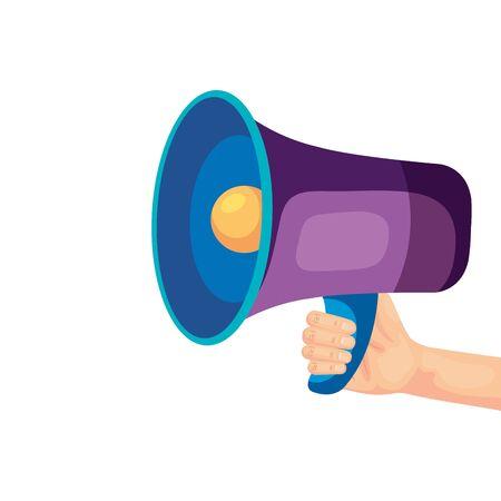 Ilustración de Megaphone icon design, Amplifer speaker bullhorn announce speech message communication and sound theme Vector illustration - Imagen libre de derechos