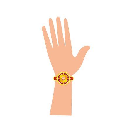 Illustration for hand with bohemian style bracelet vector illustration design - Royalty Free Image