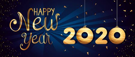 Illustration for poster of happy new year 2020 vector illustration design - Royalty Free Image