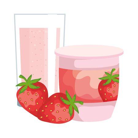 Ilustración de strawberry fruit yogurt fresh with glass vector illustration design - Imagen libre de derechos