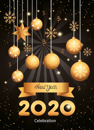 Illustration for poster of happy new year 2020 with balls hanging vector illustration design - Royalty Free Image