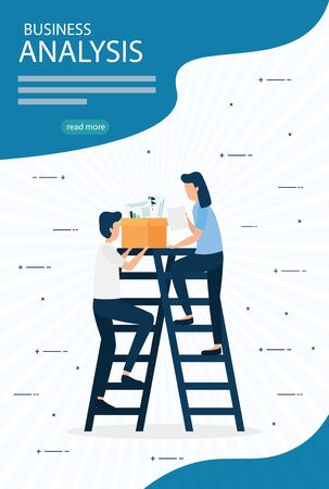 Ilustración de Businesswoman and businessman design, Infographic data information business analytics and visual presentation theme Vector illustration - Imagen libre de derechos