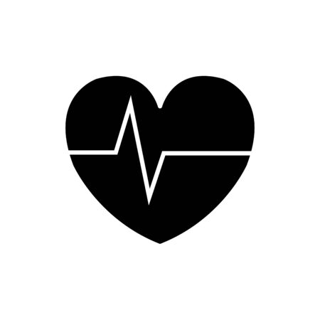 Illustration for silhouette of heart rate pulse isolated icon vector illustration design - Royalty Free Image
