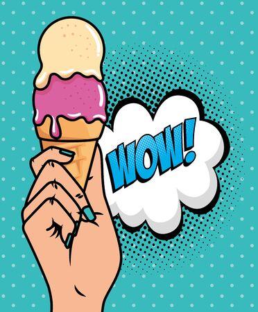Ilustración de hand with ice cream and wow expression pop art style vector illustration design - Imagen libre de derechos