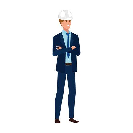 Illustration pour Architect man design, Construction work repair reconstruction industry build and project theme Vector illustration - image libre de droit