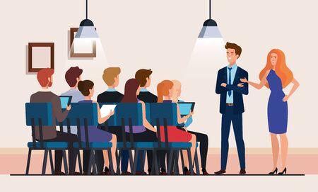 Illustration pour business people meeting avatar character vector illustration design - image libre de droit